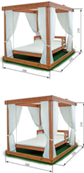 wood pavilion swing bed